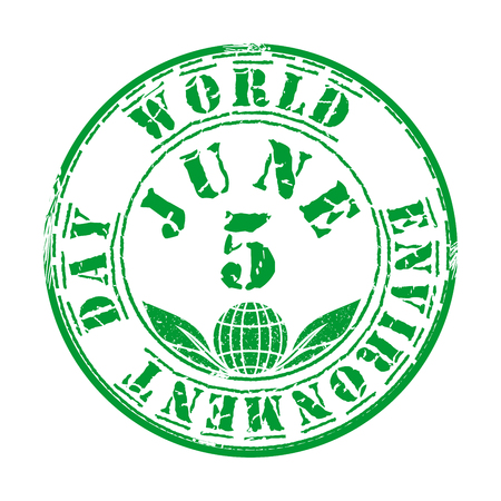 Green grunge stamp for World Environment Day Иллюстрация