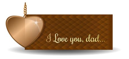 Fathers Day-kaart. Gouden hart en groetinschrijving op abstracte achtergrond - Gelukkige Vaderdag. Vector illustratie Stock Illustratie