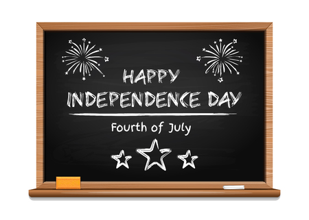 Independence Day design. Handwritten inscription in chalk on a blackboard - Happy Independence Day. Fourth of July. Vector illustration