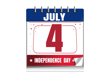 Independence Day calendar. 4 July. Independence Day in the calendar. Red and blue calendar isolated on white background. Vector illustration Illustration