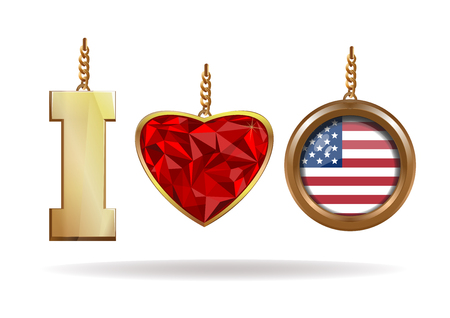 lavaliere: I love USA. Patriotic jewelry. I love America. Red Diamond heart in a gold frame. Gold medallion with the US flag inside. Vector illustration