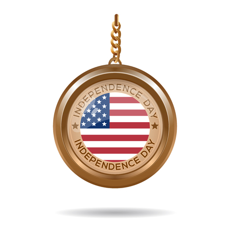 Round medallion on a chain with an American flag and inscription - Independence Day. Fourth of July. Independence Day design. Vector illustration