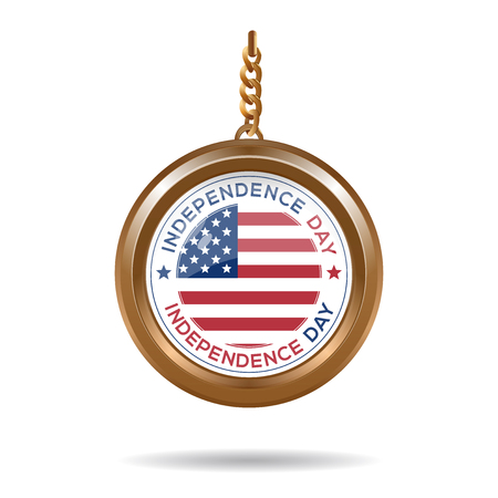 Round medallion on a chain with an American flag and inscription - Independence Day. Independence Day design. Vector illustration Çizim