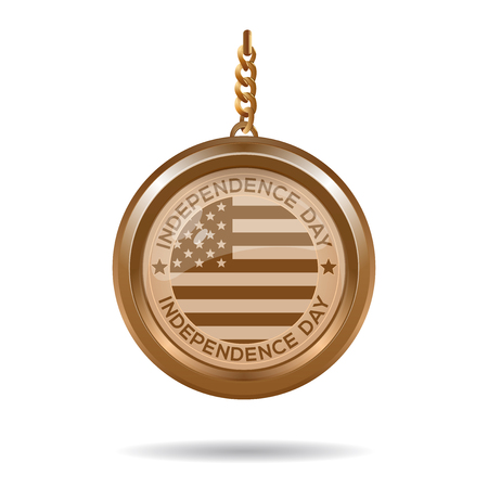 Round gold medallion on a chain with an American flag and inscription - Independence Day. 4th July. Independence Day. Vector illustration Çizim