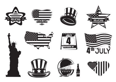 nationalism: US Independence Day monochrome icon set. Collection of symbols and inscriptions for Fourth of July. Vector illustration