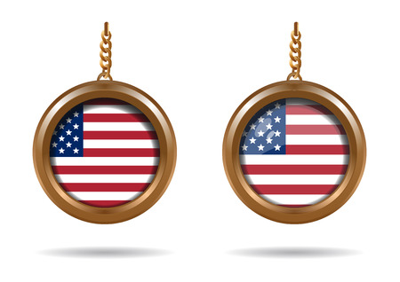 coulomb: Set round medallion on a chain with an American flag. Flag of the United States of America. US flag. Old Glory. Star-Spangled banner. Vector illustration isolated on white background
