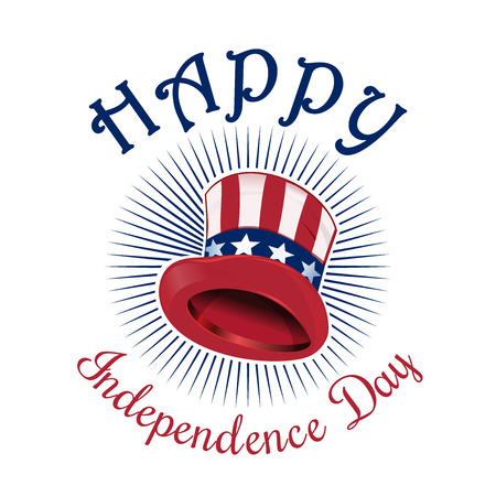 Independence Day card. Happy Independence Day. 4th of July. Uncle Sam Hat. Color icon isolated on white background. Vector illustration Illustration