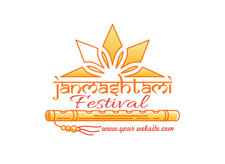 fife: Janmashtami festival logo concept design. Annual Hindu celebration of the birth of Krishna. Vector illustration Illustration