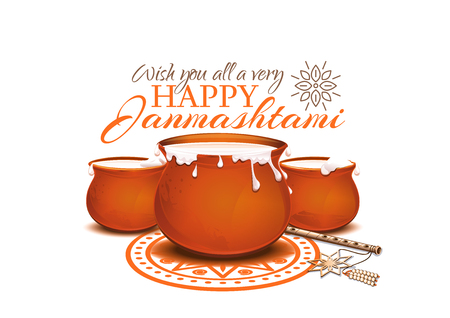 Greeting card for Krishna Janmashtami. Pots of yoghurt and flute. Indian fest. Dahi handi on Janmashtami, celebrating birth of Krishna. Vector illustration