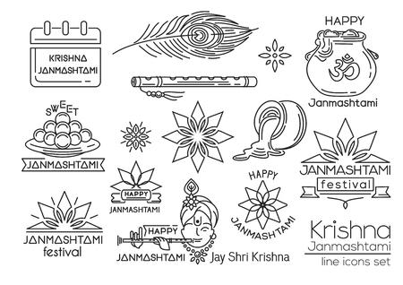 Happy Krishna Janmashtami. Line icons set. Indian festival of janmashtami celebration. Vector illustration