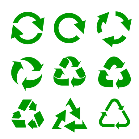 Recycled eco vector icon set. Illustration