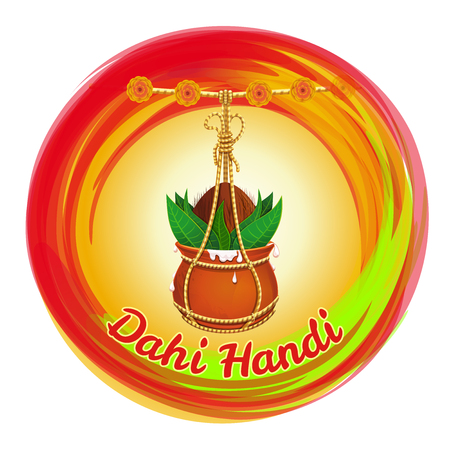 Dahi Handi. Earthen pot with Makhan and coconut