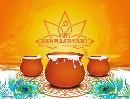 Festive background for Krishna Janmashtami Illustration
