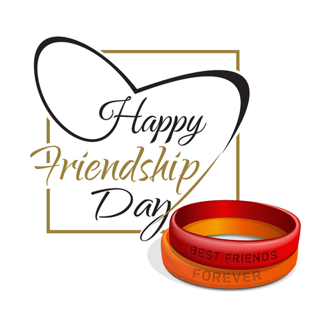 Friendship Day lettering card. Typographic design. Red and orange friendship bands and lettering - Happy Friendship Day. Vector illustration Illustration
