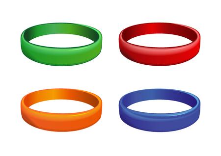 여러 가지 빛깔의 플라스틱 손목 밴드 세트