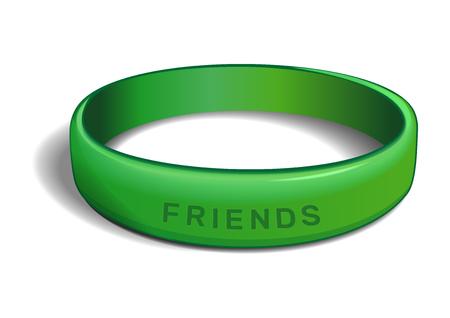 碑文 - 友人と緑のプラスチック製リストバンド。白い背景で隔離の友情バンド。国際交流デーのリアルなベクター イラスト