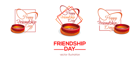 Colorful banners set for Friendship Day. Friendship bands and inscriptions. Happy Friendship Day Greetings collection. Vector illustration