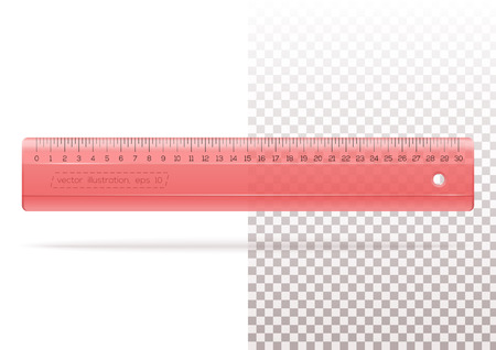 Transparent plastic red ruler on a transparent and white background. Yardstick. Measuring ruler for school or office. Realistic vector illustration.
