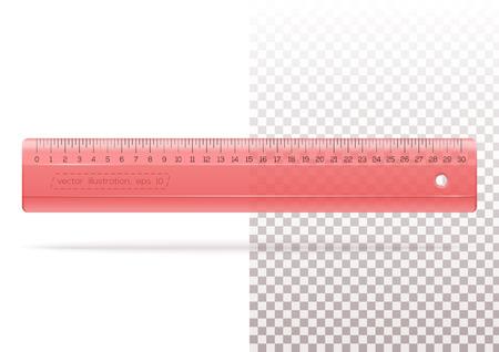 Transparante plastic rode liniaal op een transparante en witte achtergrond. Maatstaf. Heerser meten voor school of kantoor. Realistische vectorillustratie.