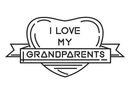 I love my Grandparents. Heart-shaped frame with an inscription. Line icon for National Grandparents Day. Happy Grandparents Day. Vector Illustration