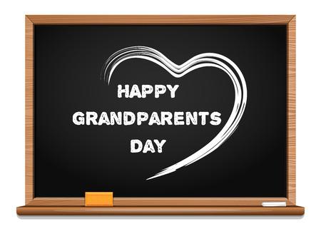 Happy Grandparents Day chalkboard. Congratulatory inscription written in chalk on a blackboard. Illustration
