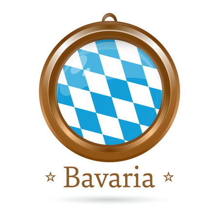 Round golden medallion with the flag of Bavaria inside. Free State of Bavaria flag. Vector illustration Stok Fotoğraf - 85058537