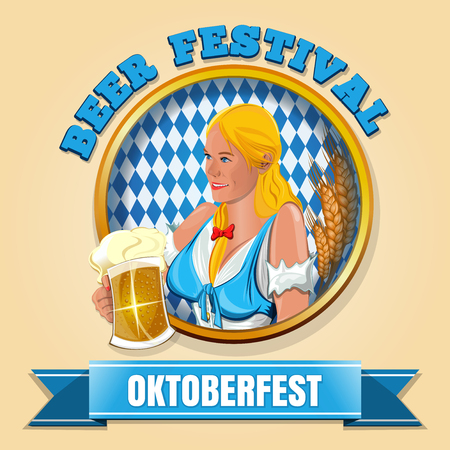 Oktoberfest. Beer Festival design. Cute blue-eyed blonde with a glass of beer in his hand. Beautiful young waitress with a glass of beer. Vector illustration Çizim