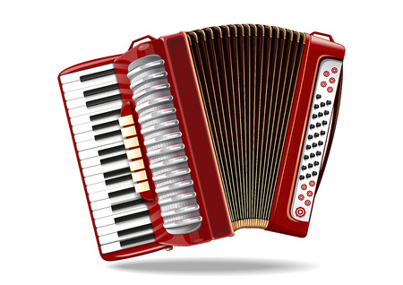 overtone: Classical bayan, accordion, harmonic, jews-harp. Musical instrument. Realistic vector illustration isolated on white background