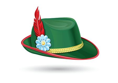 オクトーバーフェストハット。チロルの帽子。バイエルンの帽子。伝統的なドイツのヘッドドレス。羽を持つハンターハット。バイエルンの民族衣  イラスト・ベクター素材