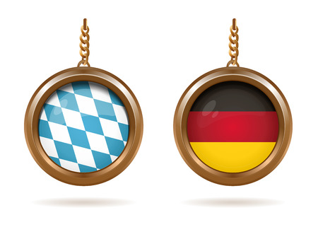 Blue-white Bavarian flag and German tricolor Çizim
