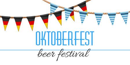 Deutsche und bayerische Flaggen zum Oktoberfest Standard-Bild - 85709081