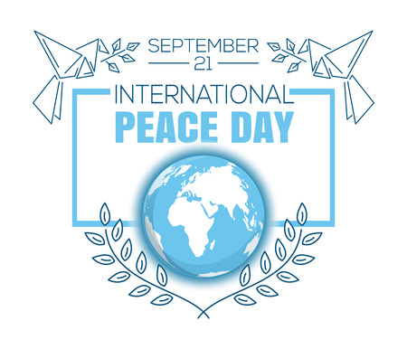 cadre: International Peace. International Day of Peace. World Peace Day. Greeting card design. September 21. Vector illustration