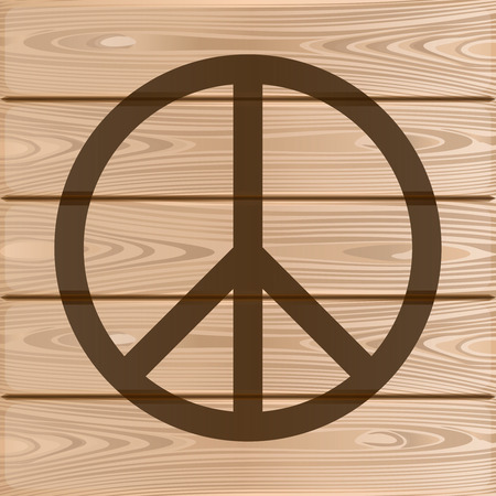 Hippie Peace Symbol Peace Symbol On A Wooden Background Vector
