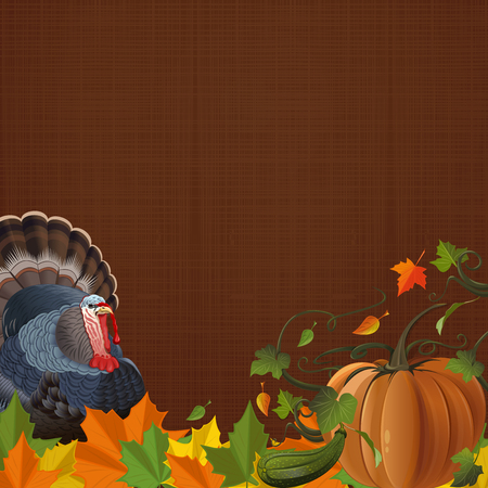 Autumn background with turkey, pumpkin, fallen leaves and free space for text. Autumn design. Vector illustration Illustration