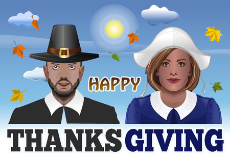 Thanksgiving Couple. Vector illustration for Thanksgiving with a man and a woman dressed as pilgrims against the sky and the falling of autumn leaves