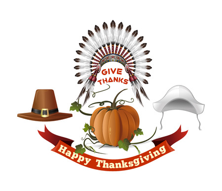 Thanksgiving Day symbols set. Happy Thanksgiving. Give thanks. Headdresses of the first settlers, Indian headdress and pumpkin. Vector illustration