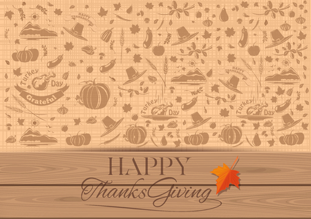 Thanksgiving vintage background. Congratulatory inscription and repeating elements for the fall and Thanksgiving theme. Happy Thanksgiving. Vector illustration Illustration