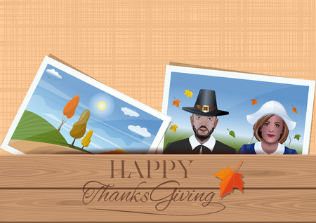 Happy Thanksgiving. Template for Thanksgiving greeting cards design. Envelope with family photos. Married couple in the fancy dress of the first settlers. Vector illustration