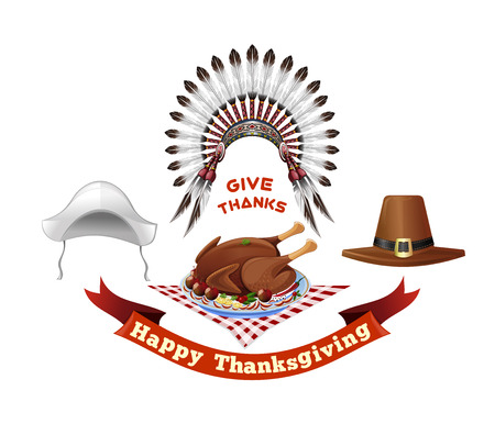 Thanksgiving Day symbols set. Happy Thanksgiving. Give thanks. Headdresses of the first settlers, Indian headdress and Thanksgiving holiday turkey. Vector illustration Illustration