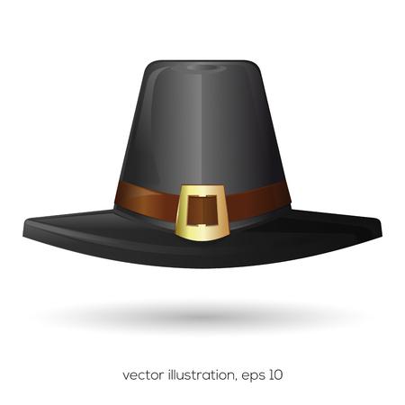 Black pilgrims hat. Thanksgiving symbol. Vector illustration