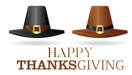 Pilgrims hat set. Black and brown pilgrim hat. Collection hats of the first settlers. Happy Thanksgiving. Vector illustration isolated on white background Illustration