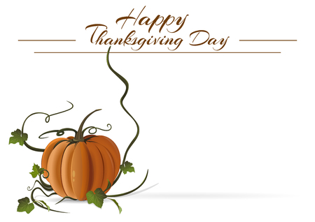 Thanksgiving Day card. Festive autumn background. Happy Thanksgiving Day. Vector background with pumpkin and with space for text Illustration