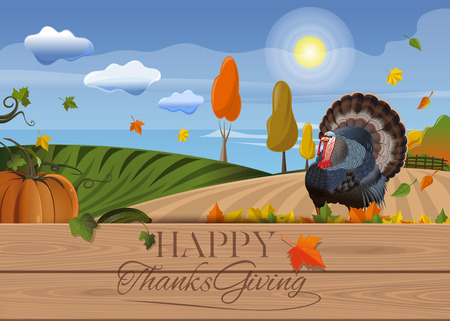 Thanksgiving background with turkey and rural landscape. Happy Thanksgiving Day card. Vector illustration