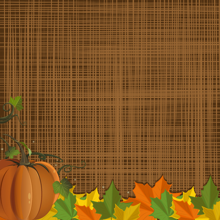Autumn design with pumpkin and colorful fallen leaves on rustic sacking background. Autumn background with free space for text. Vector illustration Illustration