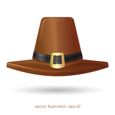 Brown pilgrims hat with a buckle Stock Vector - 89259475