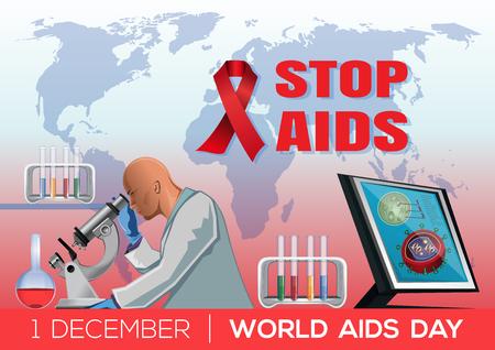 Stop Aids. World Aids Day poster design. 1 December. Vector illustration Illustration