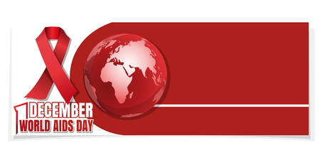 Horizontal banner for World AIDS Day. 1 December. Red Ribbon on a background of the Globe. Aids Awareness. Vector illustration