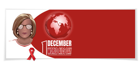 World AIDS Day. Woman with a red ribbon on his chest. 1 December. Horizontal banner. Vector illustration