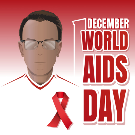 World AIDS Day poster design. Aids Awareness. Woman with a red ribbon on his chest. Vector illustration