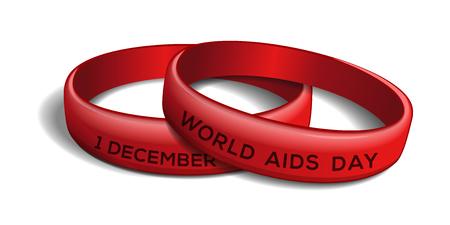 Wereld AIDS-dag ontwerp. Set rode plastic armbanden voor Wereld Aidsdag. 1 december. Vector illustratie